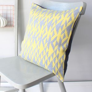 Grey And Yellow 'Pelt' Knitted Cushion - living room