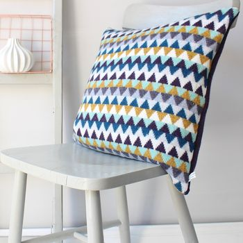 Chevron Knitted Lambswool Cushion