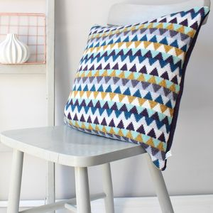 Chevron Knitted Lambswool Cushion - living room