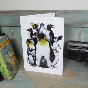 Penguin Obsession Illustration Greetings Card
