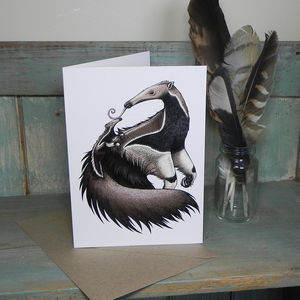 Anteater And Baby Illustration Greetings Card