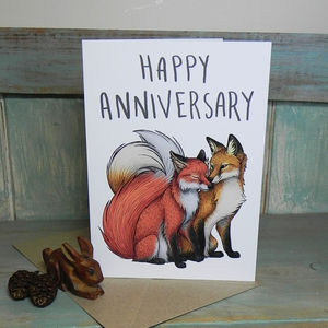 Fox Couple Illustration Anniversary Card - anniversary cards