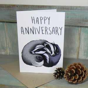 Badger Couple Illustration Anniversary Card - anniversary cards