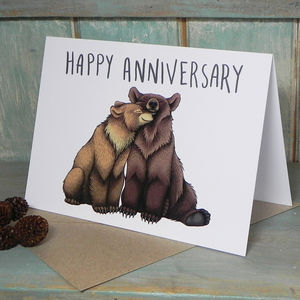 Bear Couple Illustration Anniversary Card - wedding, engagement & anniversary cards
