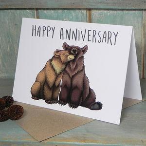Bear Couple Illustration Anniversary Card
