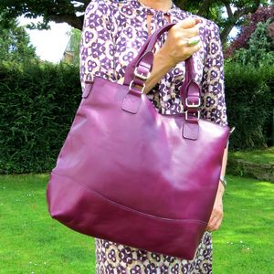 Purple Leather Classic Tote Bag - must have bags