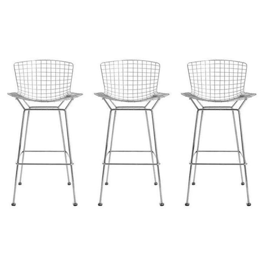 Bar Stool Chrome Silver Bertoia Style Bar Stool By