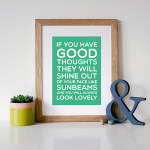 Roald Dahl 'Good Thoughts' Quote Print - home sale