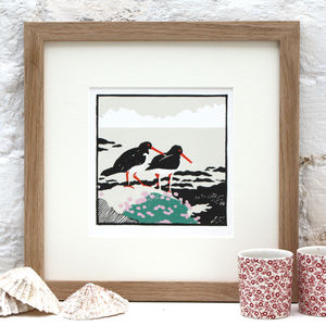 Coastal Bird Art Print 'Two Oystercatchers' - animals & wildlife