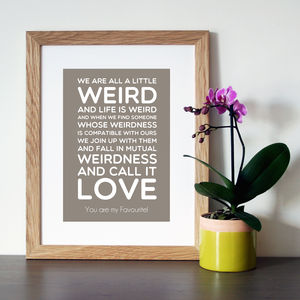 Personalised Dr Seuss 'Weird' Quote Print - canvas prints & art