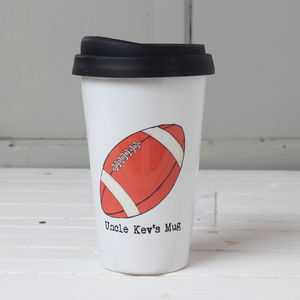Personalised Rugby Fan's Travel Mug