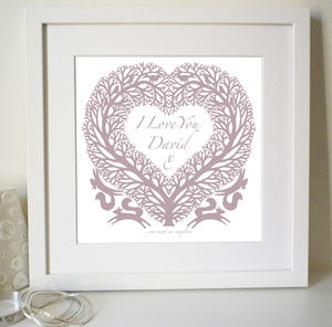 Personalised Anniversary 'I Love You' Heart Print