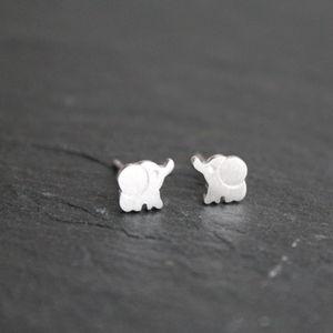 Silver Little Elephant Ear Studs Earrings