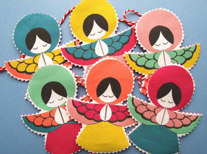 Fabric Angel Garland Pack Of Two - christmas parties & entertaining
