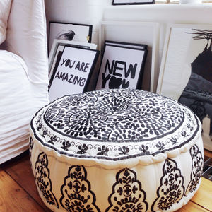 Nomad Embroidered Linen Pouffe, Black - cushions