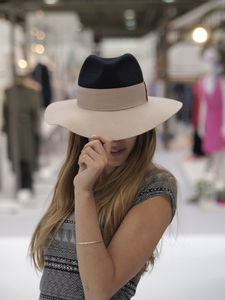 Relaxed Wool Two Tone Fedora - womens