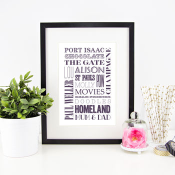 Personalised 'Favourite Things' Typographic Print
