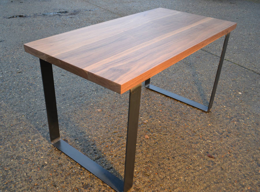 large walnut dining table industrial steel base by wicked