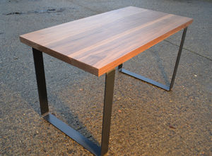Large Walnut Dining Table Industrial Steel Base - furniture