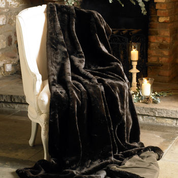 Large Rich Truffle Faux Fur Throw