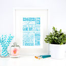 Personalised Memories Typographic Print