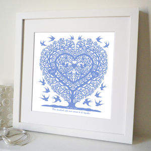 Personalised Love Birds Wedding And Engagement Print