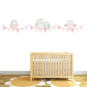 Springtime Owl Bunting - wall stickers by room