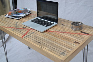 Desk Reclaimed Maple Boxcar Red Resin Inlay - office & study