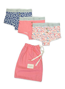 Girls Three Pack Of Boxer Style Knickers With Bag