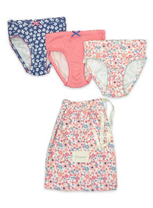 Girls Three Pack Of Printed Knickers With Matching Bag - clothing