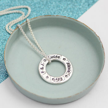 Silver Personalised Mummy's Circle Necklace