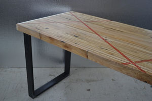 Dining Table Reclaimed Oak Industrial Edge - furniture
