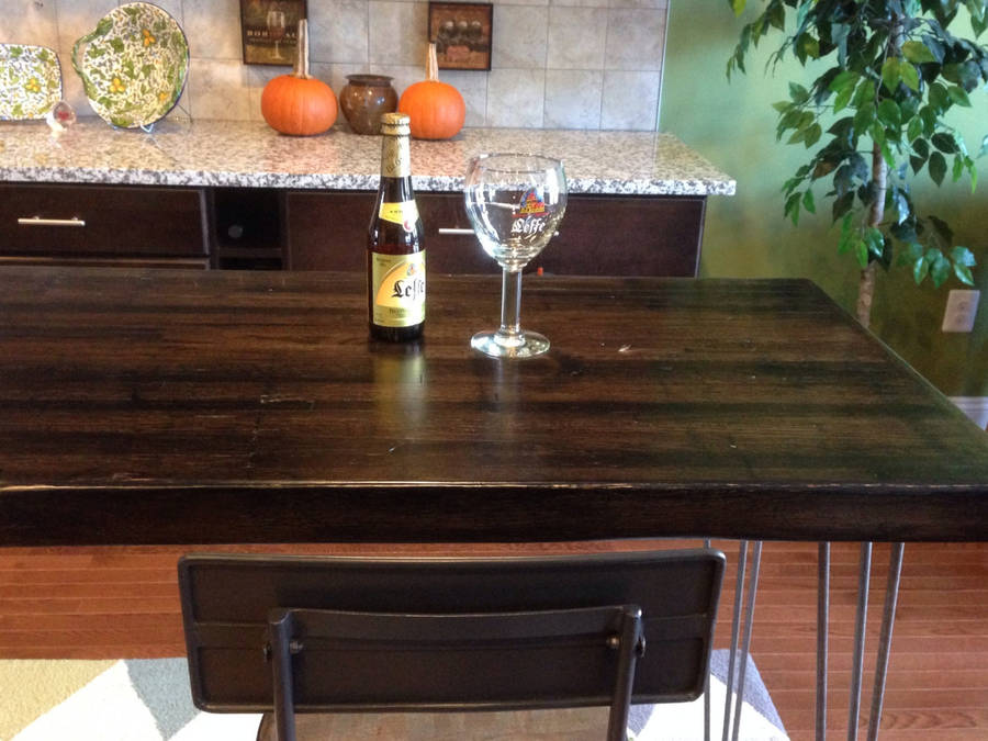 Oak Bar Height Table Stained Dark Hairpin Legs By Wicked