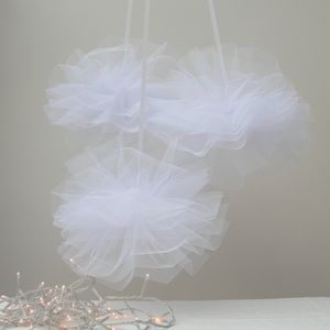 Three Pure White Net Pom Poms - styling your day sale