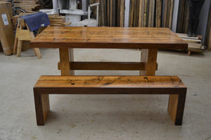 Dining Set Reclaimed Solid Oak Table And Matching Bench - furniture