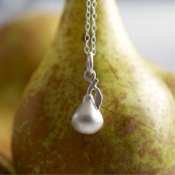 Silver Pear Necklace by Lily Charmed