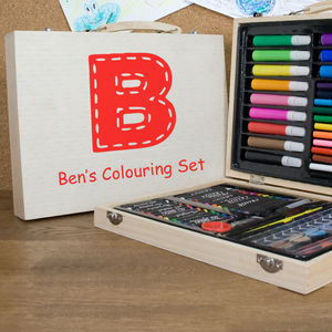Personalised Wooden Art Box Set - pens, pencils & cases