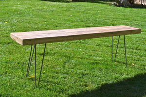 Reclaimed Oak Bench Mid Century Modern / Hairpin Legs - kitchen