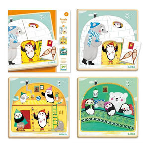 Igloo Penguin Party Wooden Three Layer Puzzle