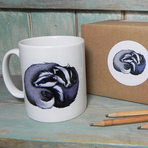Badger Cuddle Illustration Mug