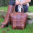 Large Leather Pocket Handbag Tote