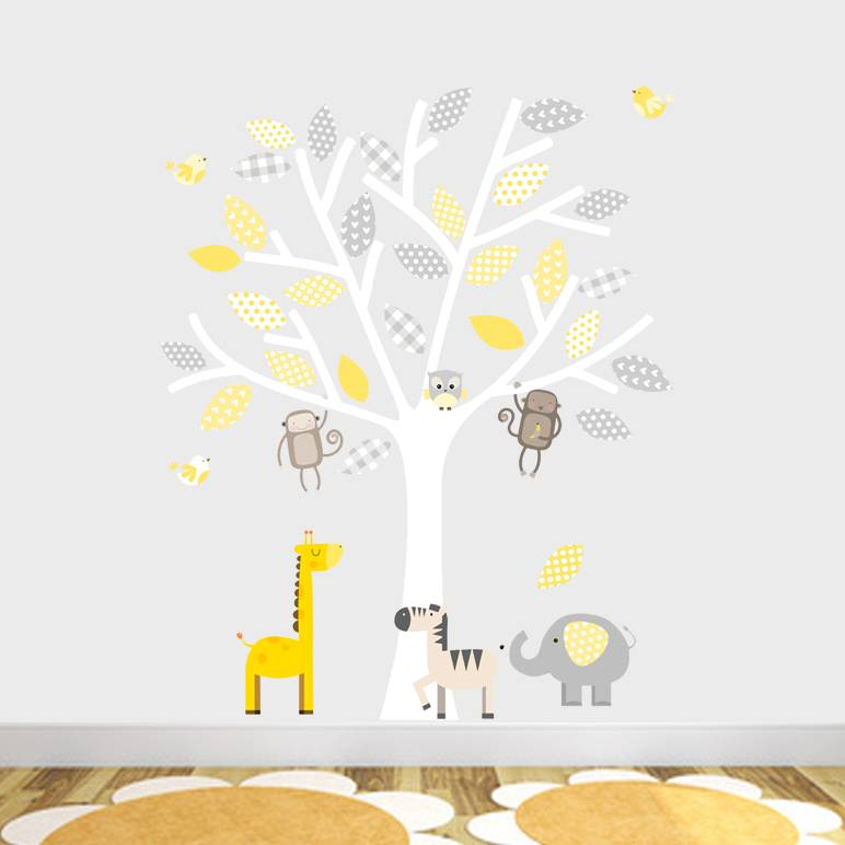 Grey And Yellow Safari Fabric Wall Stickers By