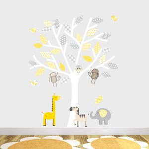 Grey And Yellow Safari Fabric Wall Stickers - bedroom