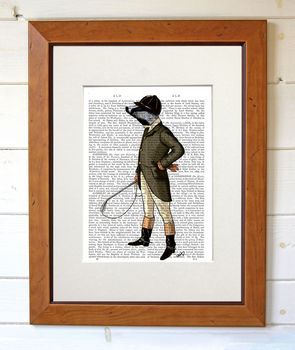 Badger The Rider, Dictionary Print