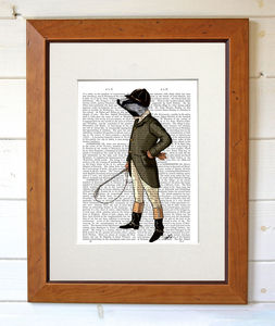 Badger The Rider, Dictionary Print - posters & prints