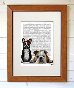 French And English Bulldogs Print - posters & prints