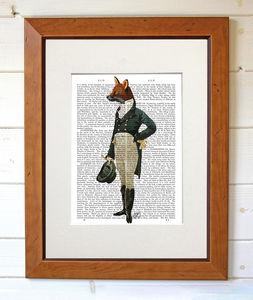 Dandy Fox, Dictionary Art Print - contemporary art