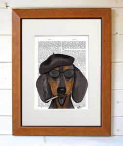 Hipster Dachshund Dog Print - contemporary art