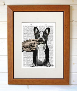French Bulldog And Finger Moustache - contemporary art