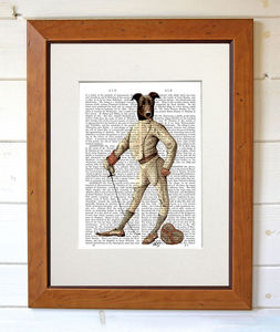 Greyhound Fencer In White, Dictionary Print - contemporary art